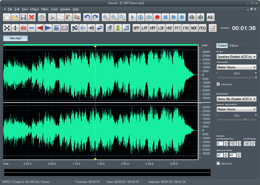 Record, edit, add audio effects and mix your digital audio files.